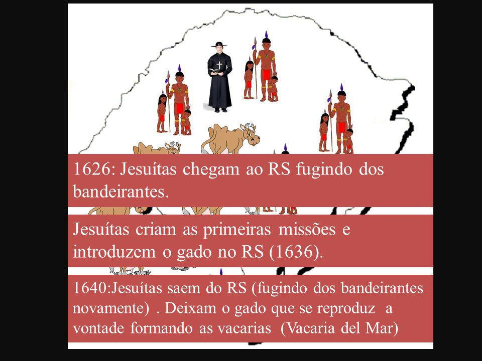 1626: Jesuítas chegam ao RS fugindo dos bandeirantes. Jesuítas criam as primeiras missões e introduzem o gado no RS (1636). 1640:Jesuítas saem do RS (