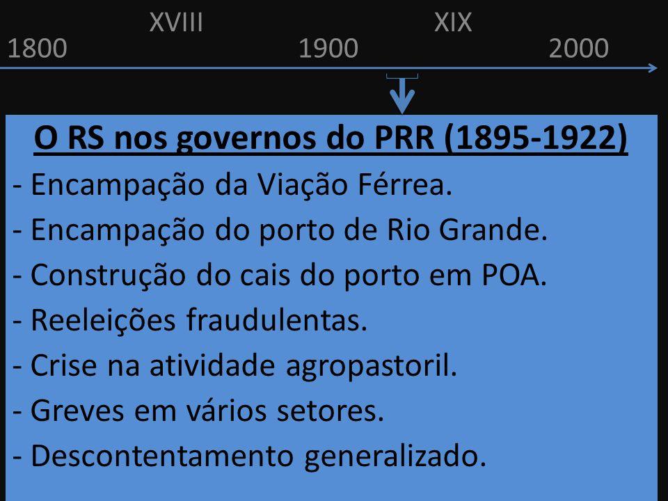 18001900 O RS nos governos do PRR (1895-1922) - Encampação da Viação Férrea. - Encampação do porto de Rio Grande. - Construção do cais do porto em POA