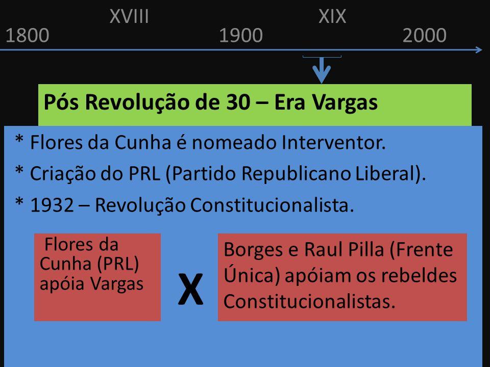 18001900 XVIIIXIX 2000 Pós Revolução de 30 – Era Vargas * Flores da Cunha é nomeado Interventor. * Criação do PRL (Partido Republicano Liberal). * 193