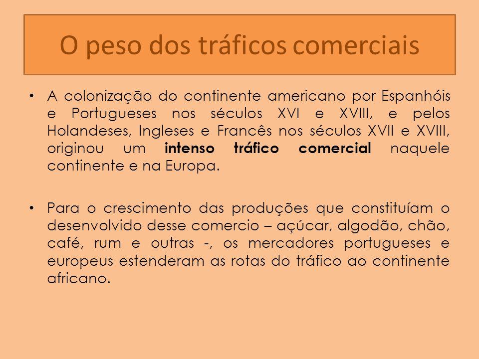 O peso dos tráficos comerciais A colonização do continente americano por Espanhóis e Portugueses nos séculos XVI e XVIII, e pelos Holandeses, Ingleses