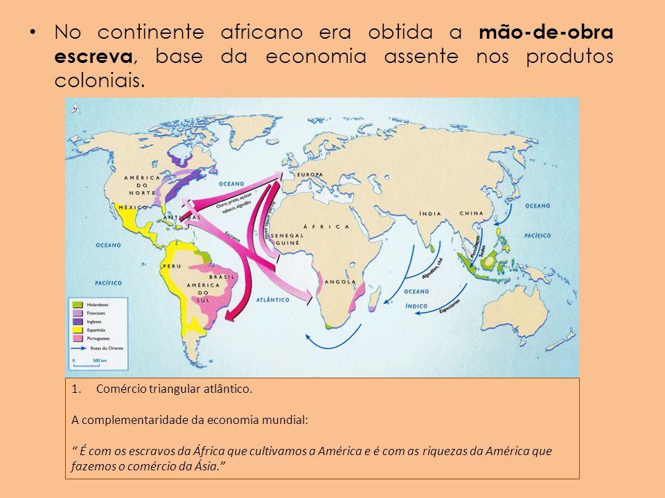 No continente africano era obtida a mão-de-obra escreva, base da economia assente nos produtos coloniais. 1.Comércio triangular atlântico. A complemen