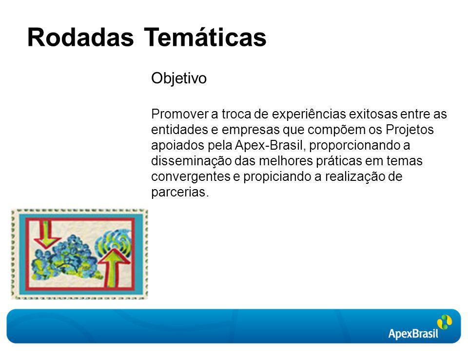 Rodadas Temáticas Objetivo Promover a troca de experiências exitosas entre as entidades e empresas que compõem os Projetos apoiados pela Apex-Brasil, proporcionando a disseminação das melhores práticas em temas convergentes e propiciando a realização de parcerias.