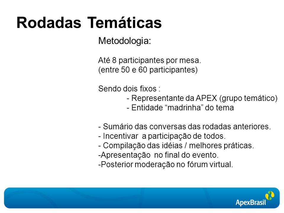 Rodadas Temáticas Metodologia: Até 8 participantes por mesa.