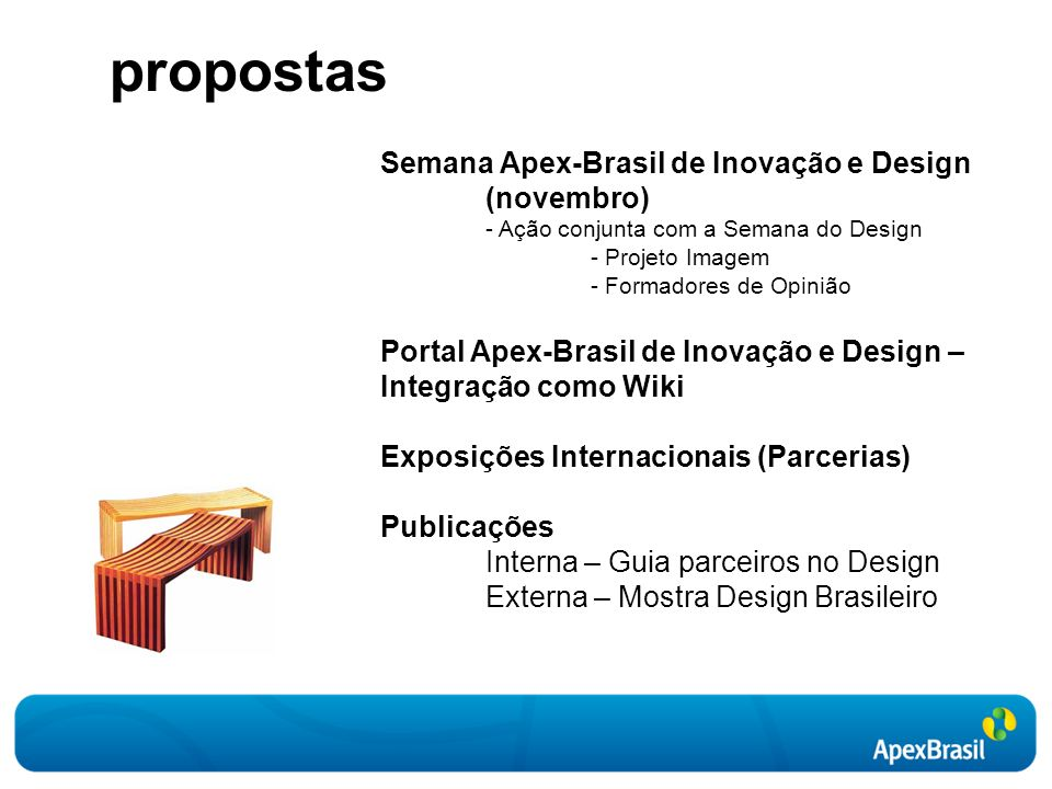 Semana Apex-Brasil de Inovação e Design (novembro) - Ação conjunta com a Semana do Design - Projeto Imagem - Formadores de Opinião Portal Apex-Brasil de Inovação e Design – Integração como Wiki Exposições Internacionais (Parcerias) Publicações Interna – Guia parceiros no Design Externa – Mostra Design Brasileiro propostas