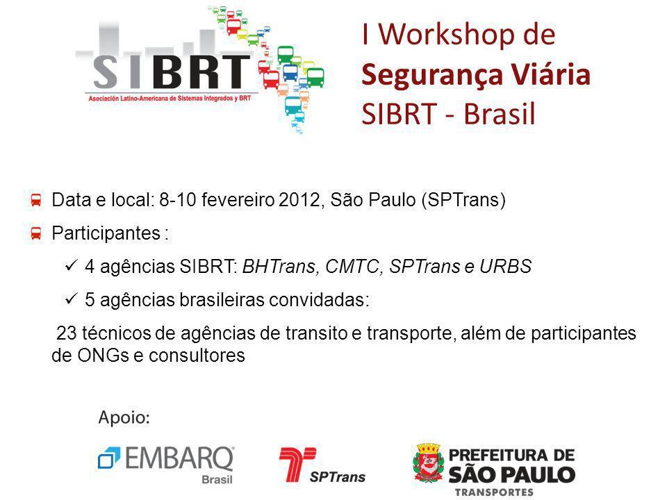 I Workshop de Segurança Viária SIBRT - Brasil Data e local: 8-10 fevereiro 2012, São Paulo (SPTrans) Participantes : 4 agências SIBRT: BHTrans, CMTC,