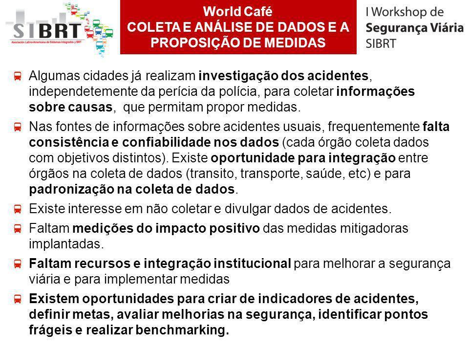 World Café COLETA E ANÁLISE DE DADOS E A PROPOSIÇÃO DE MEDIDAS Algumas cidades já realizam investigação dos acidentes, independetemente da perícia da