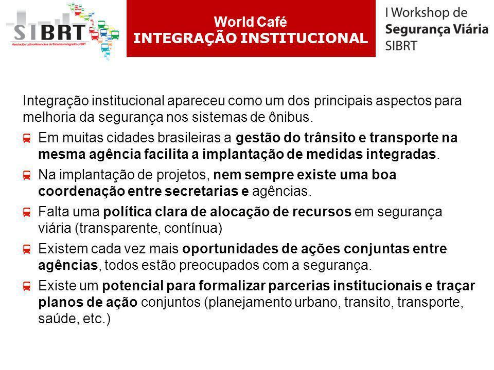 Integração institucional apareceu como um dos principais aspectos para melhoria da segurança nos sistemas de ônibus. Em muitas cidades brasileiras a g
