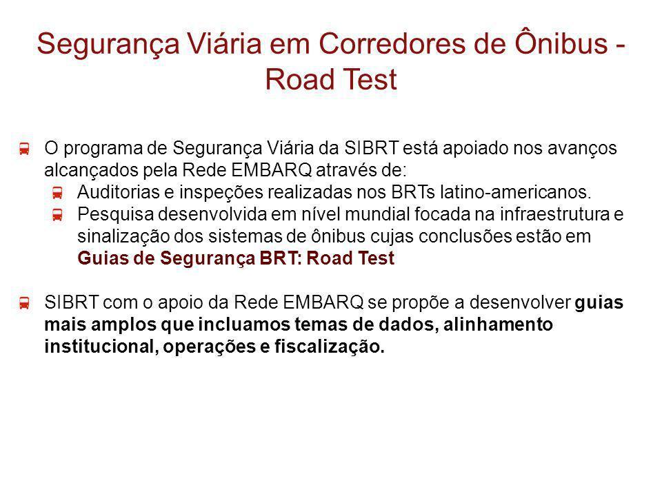 Segurança Viária em Corredores de Ônibus - Road Test O programa de Segurança Viária da SIBRT está apoiado nos avanços alcançados pela Rede EMBARQ atra