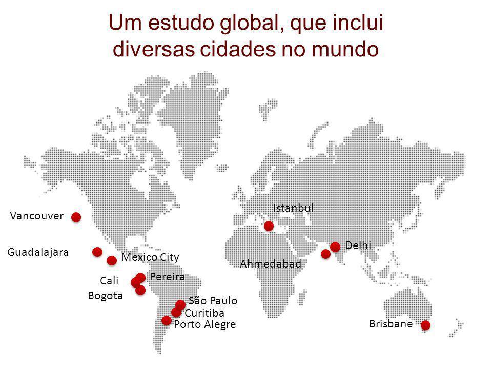 Mexico City Guadalajara Bogota Curitiba Porto Alegre Istanbul Delhi Ahmedabad Vancouver Brisbane São Paulo Pereira Cali Um estudo global, que inclui d