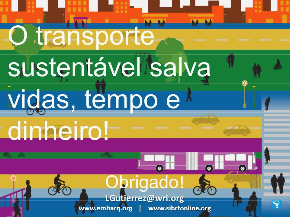 O transporte sustentável salva vidas, tempo e dinheiro! Obrigado ! LGutierrez@wri.org www.embarq.org | www.sibrtonline.org