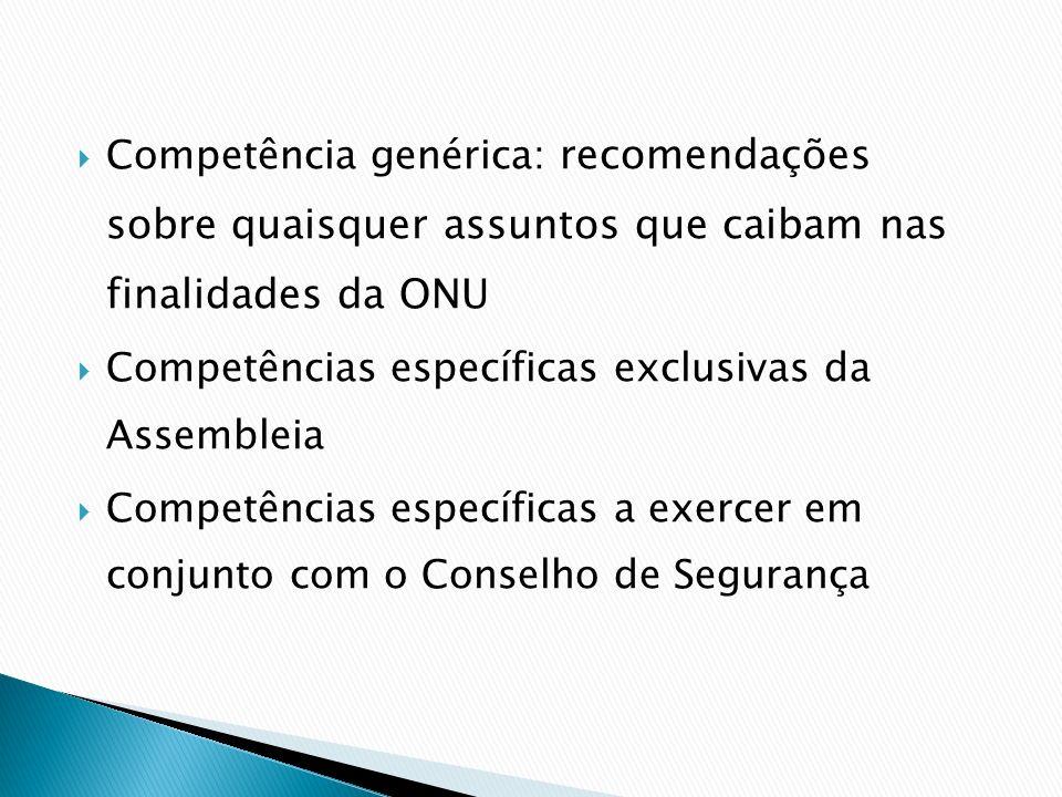 Competência genérica: recomendações sobre quaisquer assuntos que caibam nas finalidades da ONU Competências específicas exclusivas da Assembleia Compe