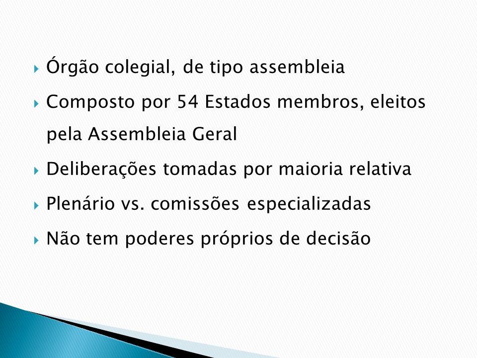 Órgão colegial, de tipo assembleia Composto por 54 Estados membros, eleitos pela Assembleia Geral Deliberações tomadas por maioria relativa Plenário v