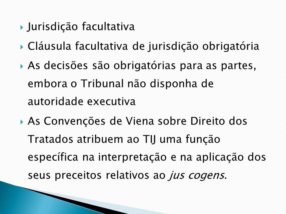 Jurisdição facultativa Cláusula facultativa de jurisdição obrigatória As decisões são obrigatórias para as partes, embora o Tribunal não disponha de a