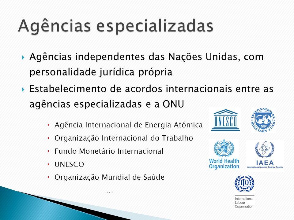Agências independentes das Nações Unidas, com personalidade jurídica própria Estabelecimento de acordos internacionais entre as agências especializada