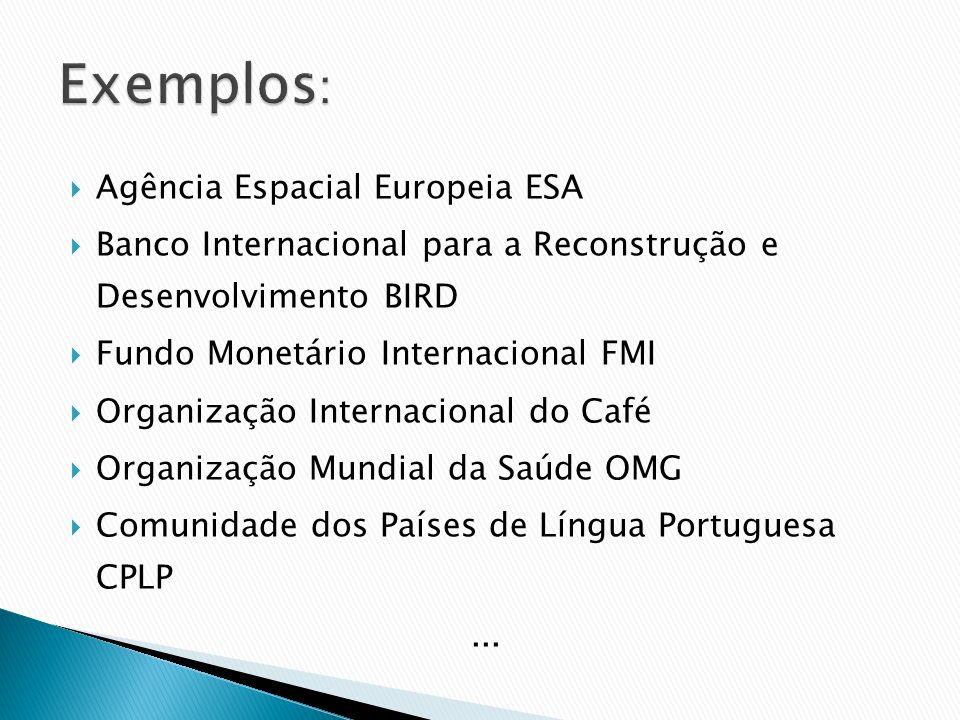 Agência Espacial Europeia ESA Banco Internacional para a Reconstrução e Desenvolvimento BIRD Fundo Monetário Internacional FMI Organização Internacion