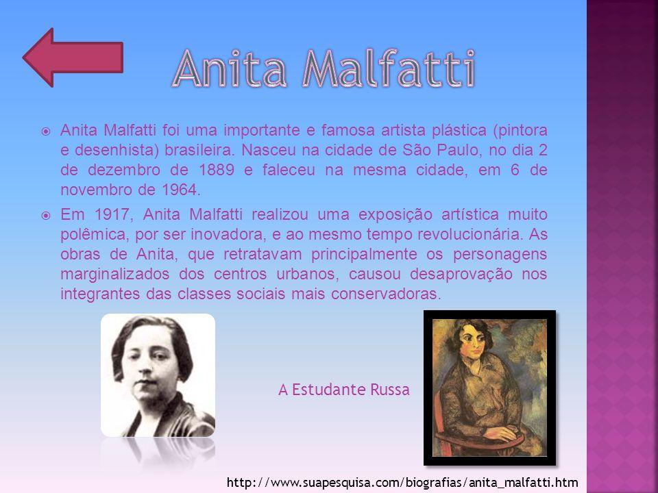 Anita Malfatti foi uma importante e famosa artista plástica (pintora e desenhista) brasileira. Nasceu na cidade de São Paulo, no dia 2 de dezembro de