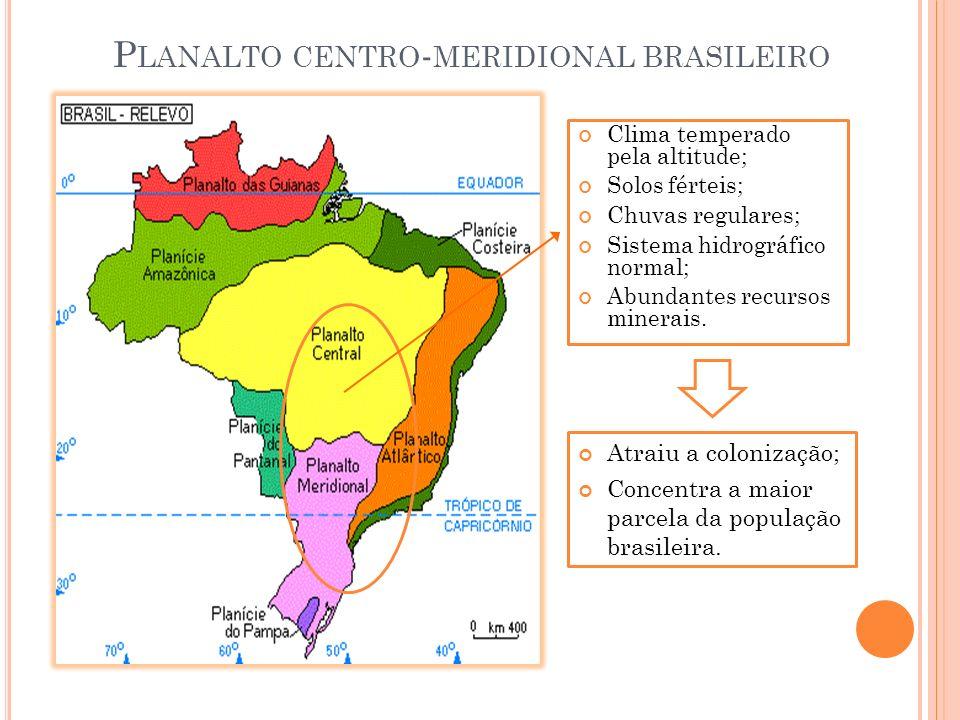 Clima temperado pela altitude; Solos férteis; Chuvas regulares; Sistema hidrográfico normal; Abundantes recursos minerais. Atraiu a colonização; Conce