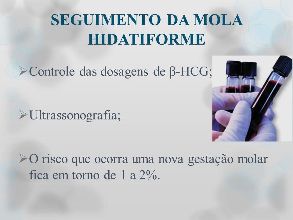 SEGUIMENTO DA MOLA HIDATIFORME Controle das dosagens de β-HCG; Ultrassonografia; O risco que ocorra uma nova gestação molar fica em torno de 1 a 2%.