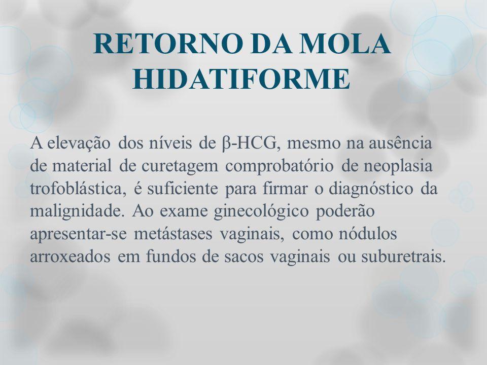 RETORNO DA MOLA HIDATIFORME A elevação dos níveis de β-HCG, mesmo na ausência de material de curetagem comprobatório de neoplasia trofoblástica, é suf