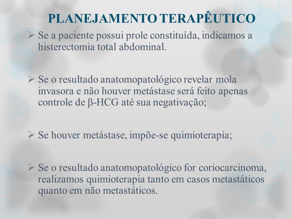 PLANEJAMENTO TERAPÊUTICO Se a paciente possui prole constituída, indicamos a histerectomia total abdominal. Se o resultado anatomopatológico revelar m