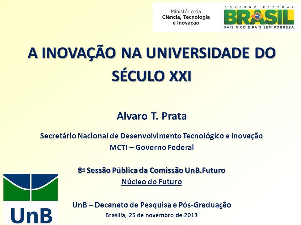 A INOVAÇÃO NA UNIVERSIDADE DO SÉCULO XXI Alvaro T. Prata Secretário Nacional de Desenvolvimento Tecnológico e Inovação MCTI – Governo Federal 8 a Sess