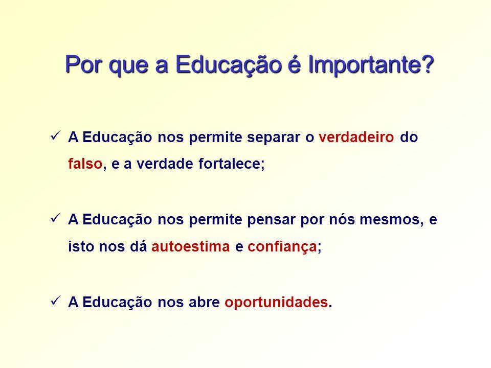 Por que a Educação é Importante? A Educação nos permite separar o verdadeiro do falso, e a verdade fortalece; A Educação nos permite pensar por nós me