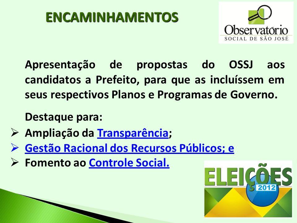 Apresentação de propostas do OSSJ aos candidatos a Prefeito, para que as incluíssem em seus respectivos Planos e Programas de Governo. Destaque para: