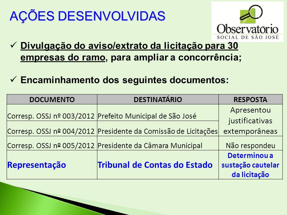 DOCUMENTODESTINATÁRIORESPOSTA Corresp. OSSJ nº 003/2012Prefeito Municipal de São José Apresentou justificativas extemporâneas Corresp. OSSJ nº 004/201