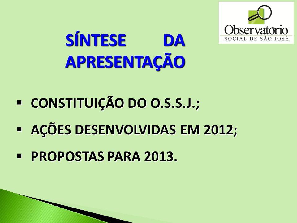 SÍNTESE DA APRESENTAÇÃO CONSTITUIÇÃO DO O.S.S.J.; CONSTITUIÇÃO DO O.S.S.J.; AÇÕES DESENVOLVIDAS EM 2012; AÇÕES DESENVOLVIDAS EM 2012; PROPOSTAS PARA 2