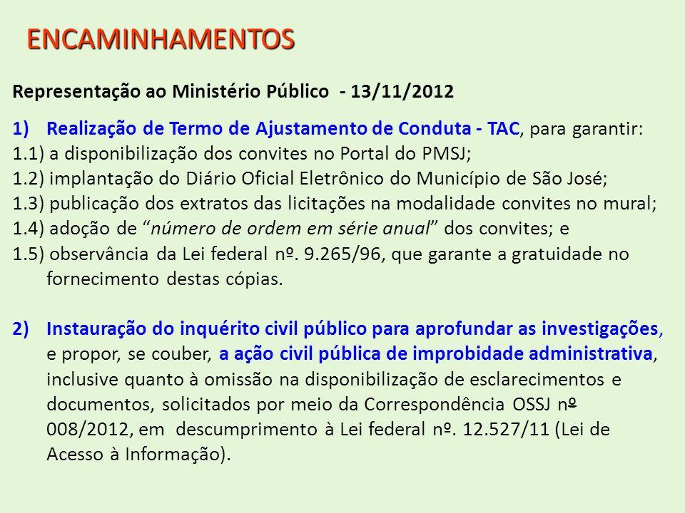Representação ao Ministério Público - 13/11/2012 1)Realização de Termo de Ajustamento de Conduta - TAC, para garantir: 1.1) a disponibilização dos con