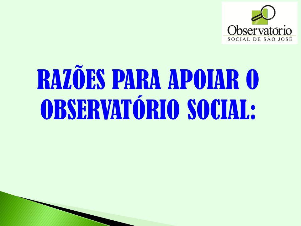 RAZÕES PARA APOIAR O OBSERVATÓRIO SOCIAL:
