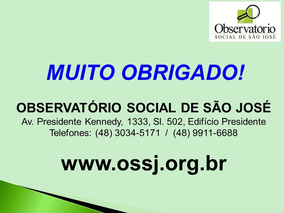 OBSERVATÓRIO SOCIAL DE SÃO JOSÉ Av. Presidente Kennedy, 1333, Sl. 502, Edifício Presidente Telefones: (48) 3034-5171 / (48) 9911-6688 www.ossj.org.br