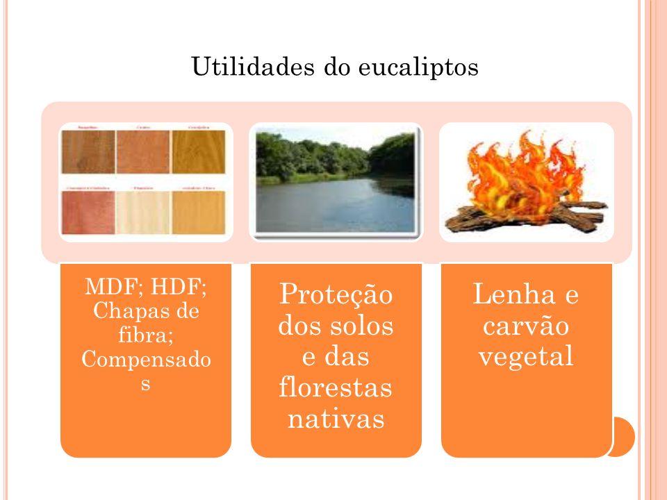 MDF; HDF; Chapas de fibra; Compensado s Proteção dos solos e das florestas nativas Lenha e carvão vegetal
