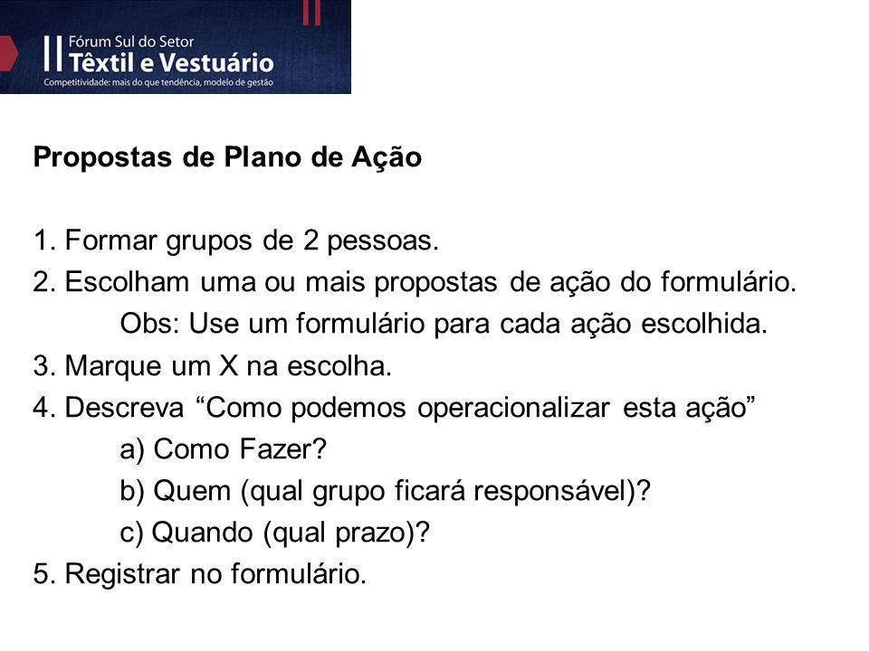 Propostas de Plano de Ação 1. Formar grupos de 2 pessoas.