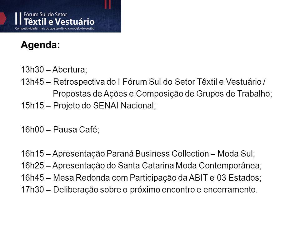 Agenda: 13h30 – Abertura; 13h45 – Retrospectiva do I Fórum Sul do Setor Têxtil e Vestuário / Propostas de Ações e Composição de Grupos de Trabalho; 15h15 – Projeto do SENAI Nacional; 16h00 – Pausa Café; 16h15 – Apresentação Paraná Business Collection – Moda Sul; 16h25 – Apresentação do Santa Catarina Moda Contemporânea; 16h45 – Mesa Redonda com Participação da ABIT e 03 Estados; 17h30 – Deliberação sobre o próximo encontro e encerramento.