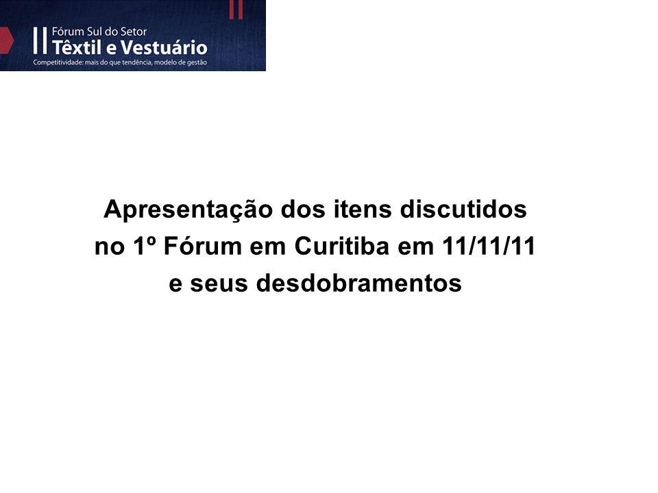 Apresentação dos itens discutidos no 1º Fórum em Curitiba em 11/11/11 e seus desdobramentos