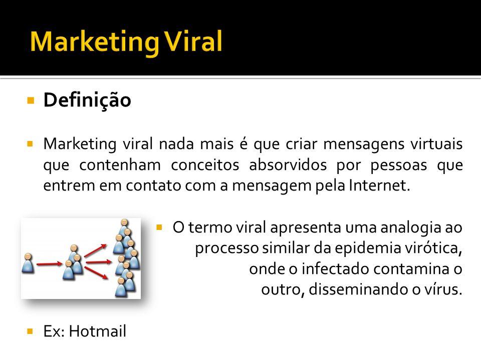 Definição Marketing viral nada mais é que criar mensagens virtuais que contenham conceitos absorvidos por pessoas que entrem em contato com a mensagem