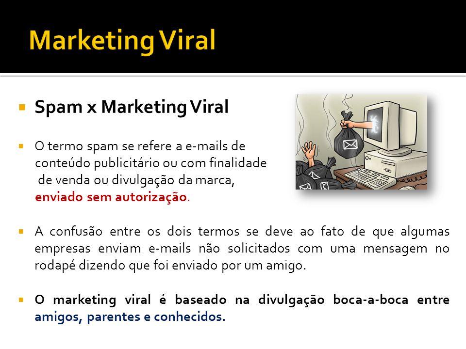 Spam x Marketing Viral O termo spam se refere a e-mails de conteúdo publicitário ou com finalidade de venda ou divulgação da marca, enviado sem autori