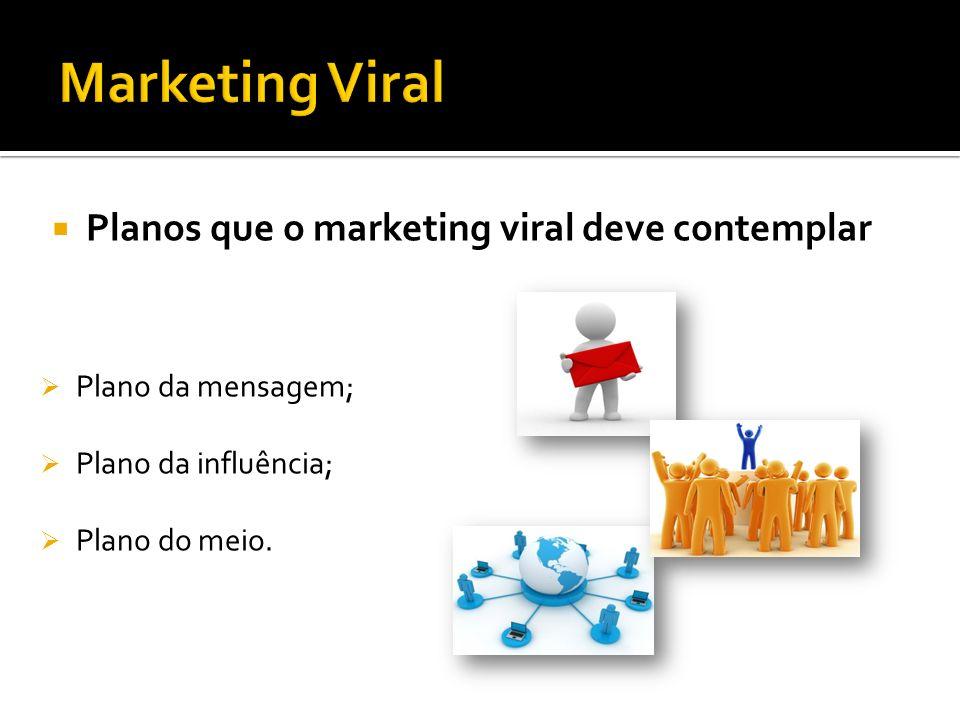 Planos que o marketing viral deve contemplar Plano da mensagem; Plano da influência; Plano do meio.