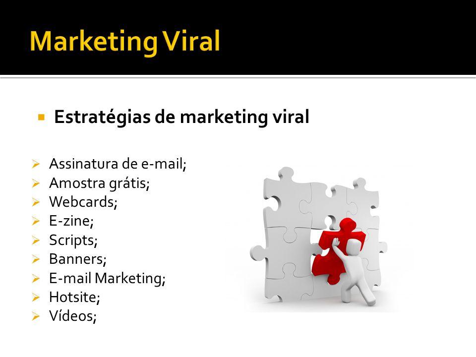 Estratégias de marketing viral Assinatura de e-mail; Amostra grátis; Webcards; E-zine; Scripts; Banners; E-mail Marketing; Hotsite; Vídeos;