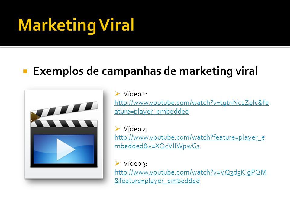 Exemplos de campanhas de marketing viral Vídeo 1: http://www.youtube.com/watch?v=tgtnNc1Zplc&fe ature=player_embedded Vídeo 2: http://www.youtube.com/