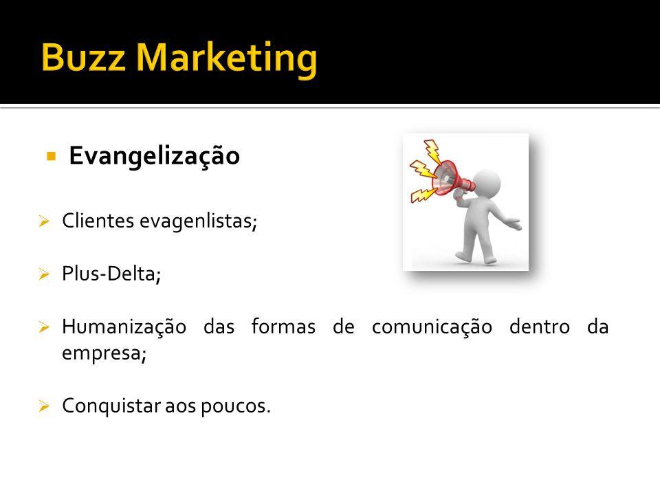 Evangelização Clientes evagenlistas; Plus-Delta; Humanização das formas de comunicação dentro da empresa; Conquistar aos poucos.