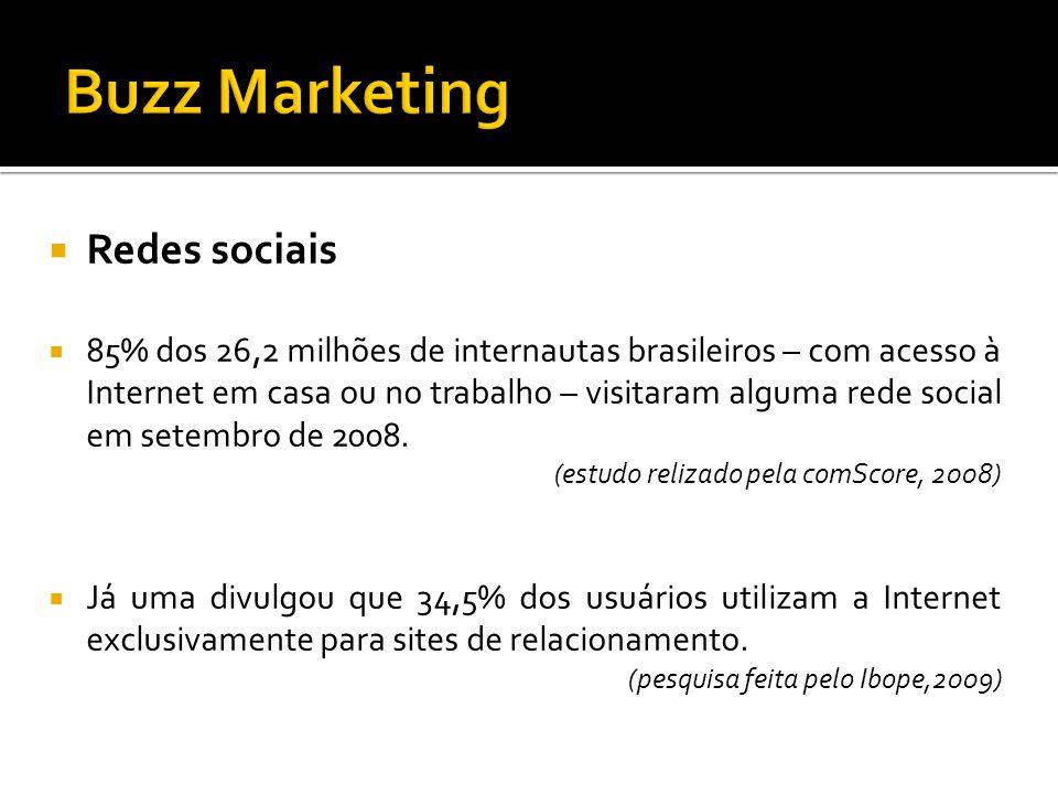 Redes sociais 85% dos 26,2 milhões de internautas brasileiros – com acesso à Internet em casa ou no trabalho – visitaram alguma rede social em setembr