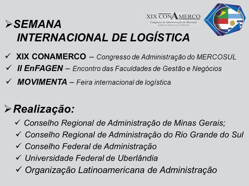 Centro de Convenções de Uberlândia A dinâmica da logística no MERCOSUL Administração, tecnologias e desafios para o futuro De 13 a 15 de junho 2012 UBERLÂNDIA – MINAS GERAIS - BRASIL LOCAL: Período: Tema: