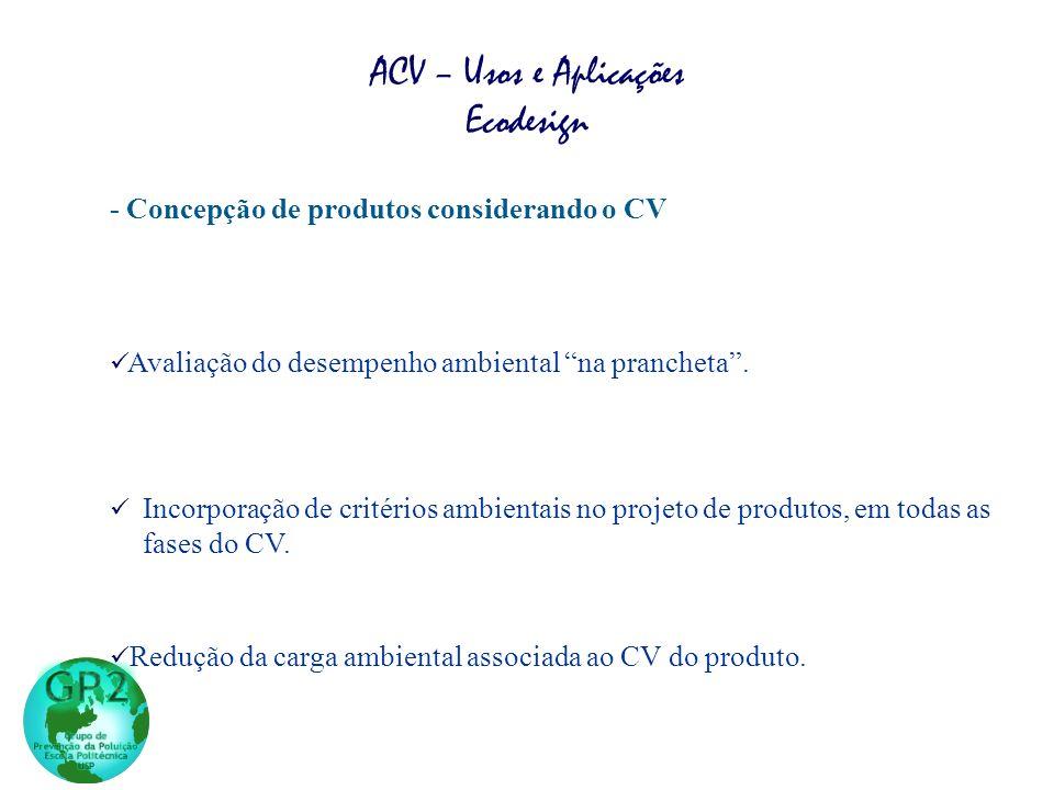 - Concepção de produtos considerando o CV Incorporação de critérios ambientais no projeto de produtos, em todas as fases do CV. Redução da carga ambie