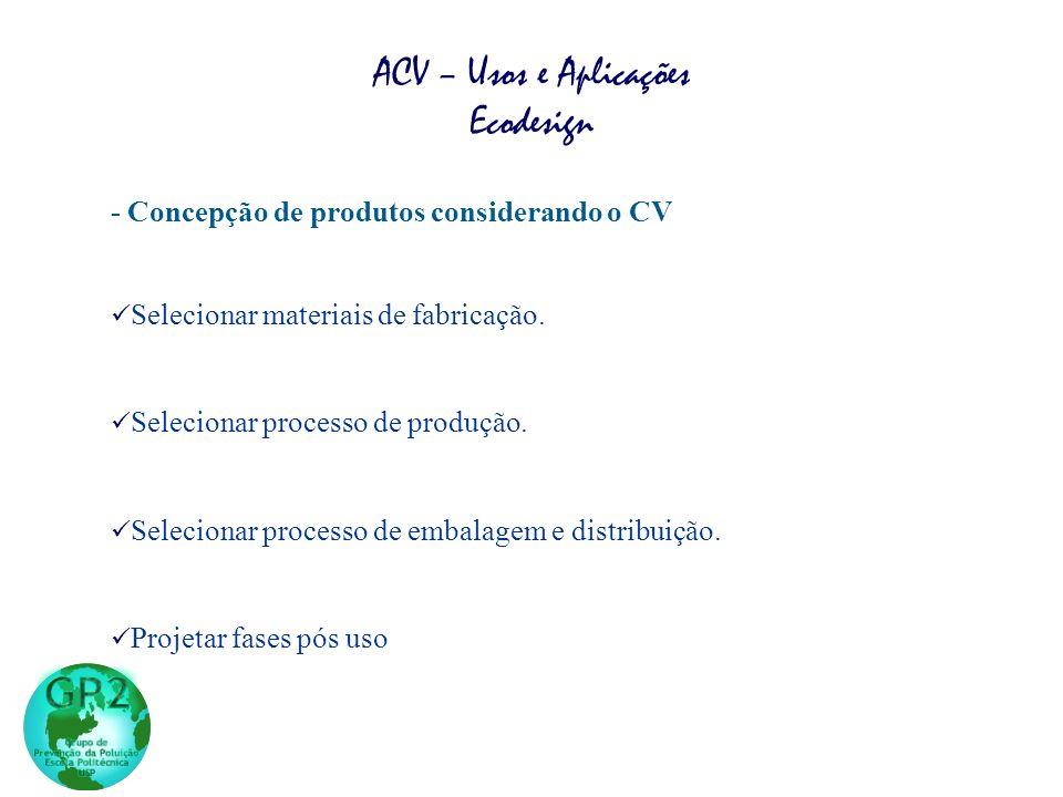 - Concepção de produtos considerando o CV Selecionar materiais de fabricação.