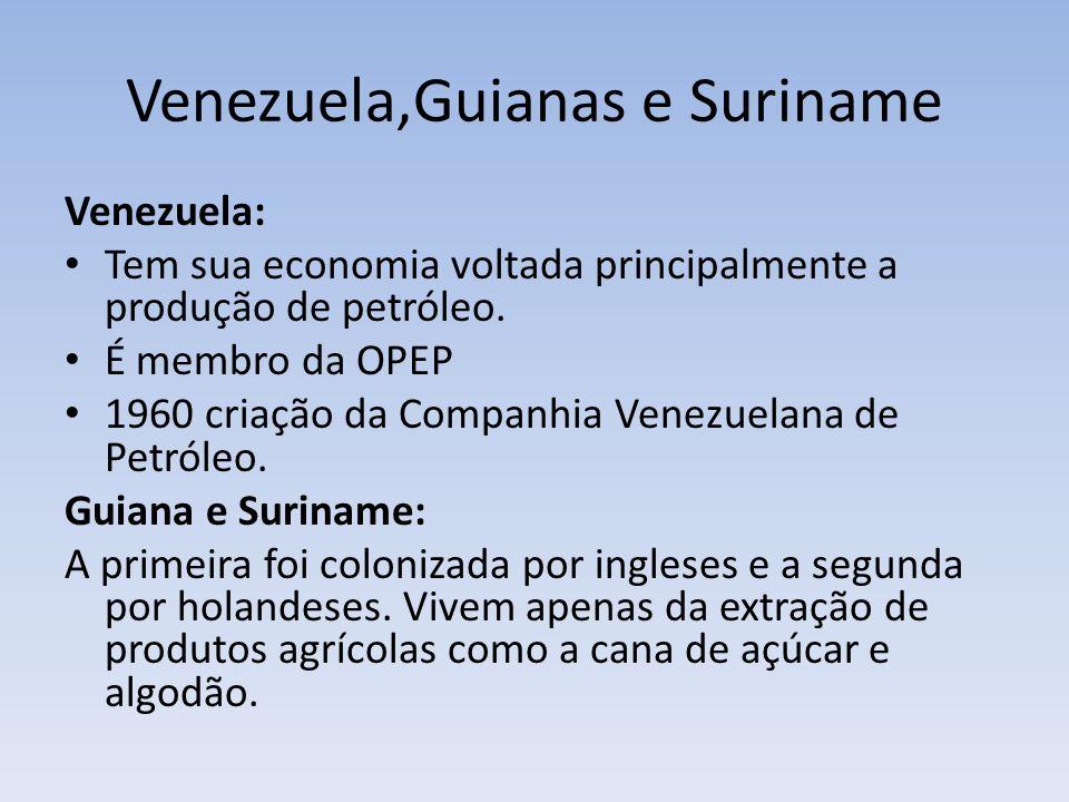 Venezuela,Guianas e Suriname Venezuela: Tem sua economia voltada principalmente a produção de petróleo. É membro da OPEP 1960 criação da Companhia Ven