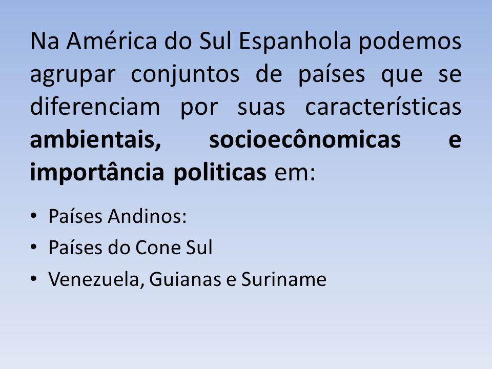 Na América do Sul Espanhola podemos agrupar conjuntos de países que se diferenciam por suas características ambientais, socioecônomicas e importância