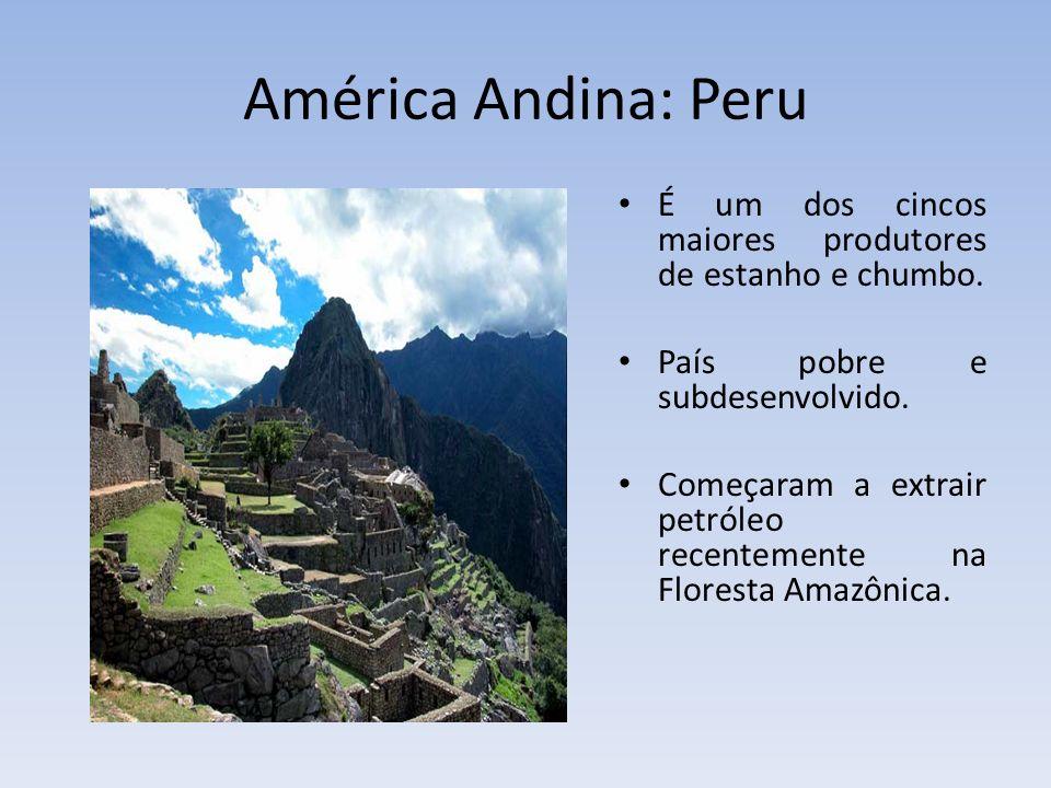 América Andina: Peru É um dos cincos maiores produtores de estanho e chumbo. País pobre e subdesenvolvido. Começaram a extrair petróleo recentemente n