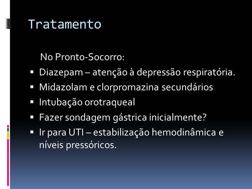 Tratamento No Pronto-Socorro: Diazepam – atenção à depressão respiratória. Midazolam e clorpromazina secundários Intubação orotraqueal Fazer sondagem